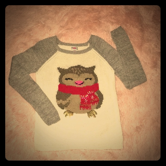 Justice Other - Cute Owl Print Two Tone Sweater